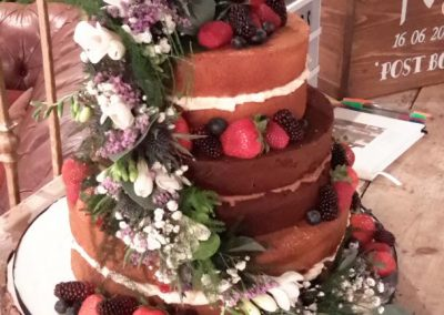 2 Tier - Naked with Fruit, Flower Cascade - 2 layers per tier