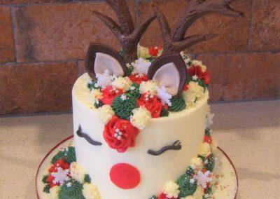 """Rudolph The Red Nosed Reindeer - 6"""" (approx 15 servings) - £50.00, 8"""" (approx. 25 servings) - £60.00,  10"""" - (approx. 35 servings) - £70.00"""