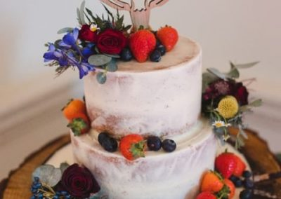 2 tier Semi Naked with fresh fruit and flowers