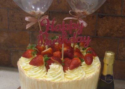 """Prosecco - Strawberries and Cream - 6"""" (approx 15 servings) - £50.00, 8"""" (approx. 25 servings) - £60.00,  10"""" - (approx. 35 servings) - £70.00 - Bottle of Prosecco £5.00, Balloons £2.00, Topper £6.00 extra"""